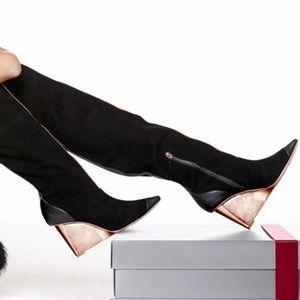 Sophia Webster Hallie OTK Black Suede/Leather Boot